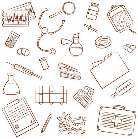 Doodle Icons Set With Medical Elements Vector