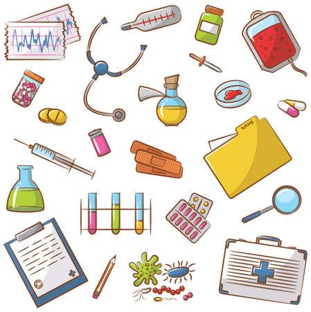 Doodle Icons Set mit medizinischen Elemente