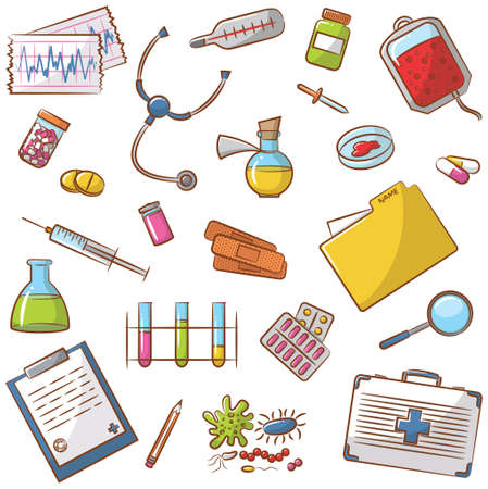 emergency kit: Doodle Icons Set With Medical Elements