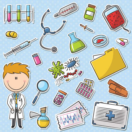 stethoscope boy: Doctor With Tools Sticker Set