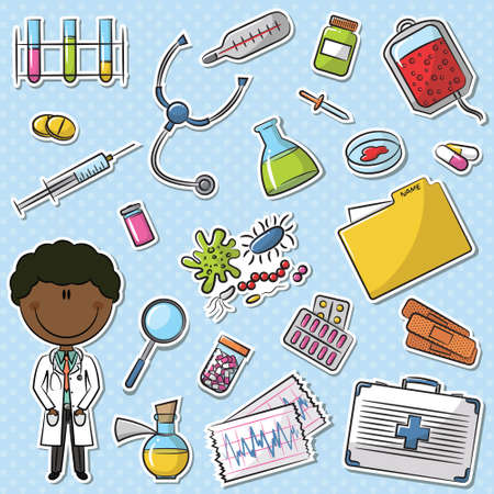 African-American Doctor With Tools Sticker Set Vector