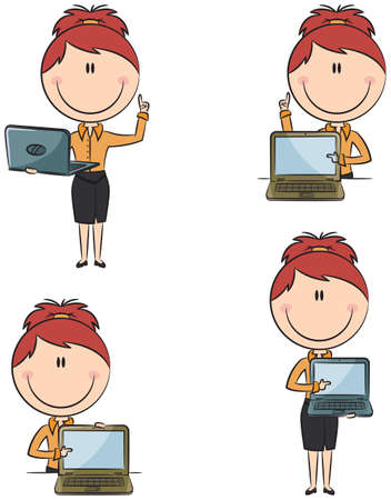 banker: Cute funny business ladies with laptop