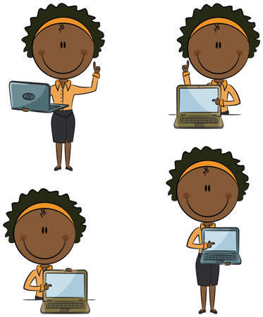 american banker: Cute funny African-American business ladies with laptop