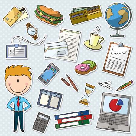 business man laptop: Businessman With Tools Sticker Set Illustration