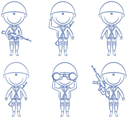 Collection of soldiers in different poses Vector