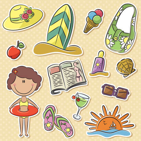 Cute happy girl with summer vacation objects Vector