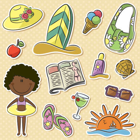 Cute happy African-American girl with summer vacation objects Vector