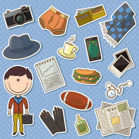 Icon set with trendy man and male things  Vector