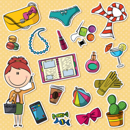 Cute set with trendy girl and female things Vector
