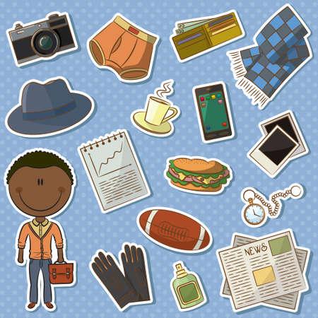 slip homme: Icon set avec l'homme afro-américain à la mode et les choses mâles