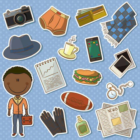 boy underwear: Icon set with trendy African-American man and male things