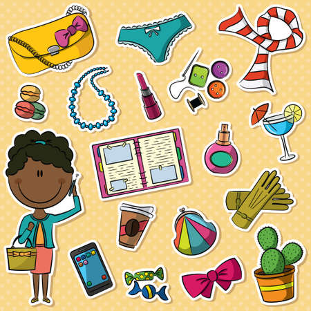 trendy girl: Cute set with African-American trendy girl and female things