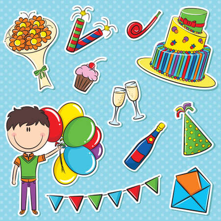 party horn blower: Stickers set with boy with color balloons and birhday elements Illustration