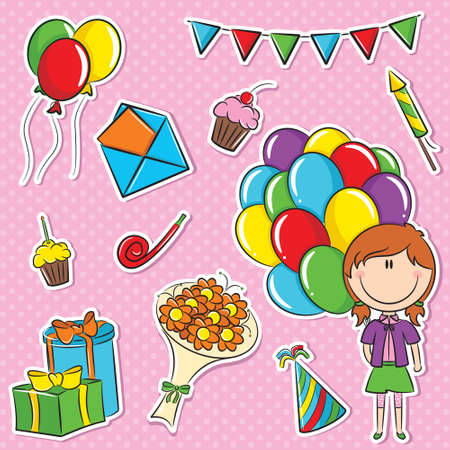 party horn blower: Stickers set with girl with color balloons and birhday elements Illustration