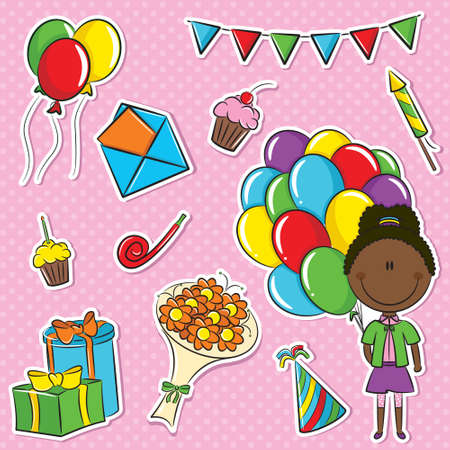 african cartoon: Stickers set with African-American girl with color balloons and birhday elements Illustration