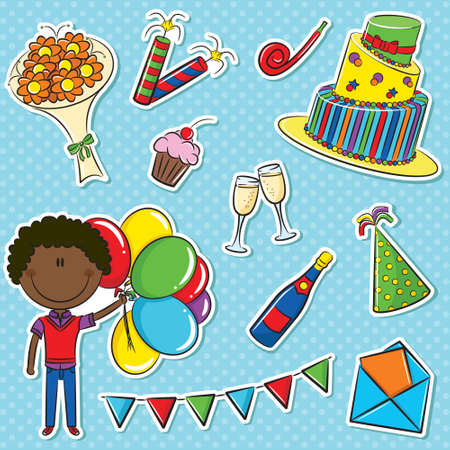 party horn blower: African- American cute boy with color balloons and birhday elements