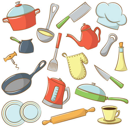 Icon set with with kitchenware