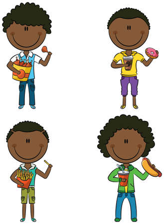 Happy African-American boys with different junk foods Vector