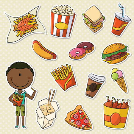 take out food: African-American Boys With Take Away Junk Food