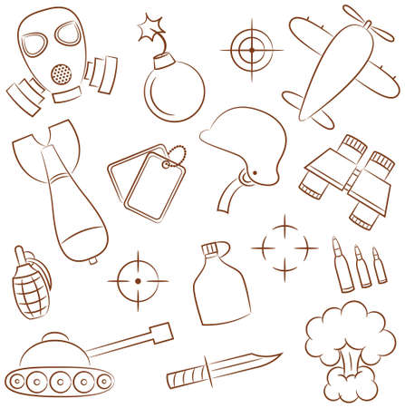 Doodle set with military icons
