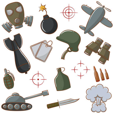 gas mask: Doodle set with military icons