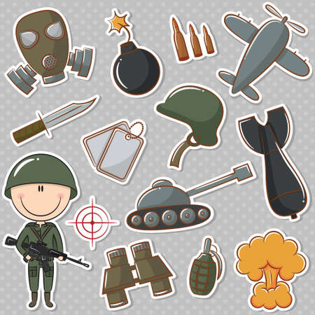 Soldier with military things Vector