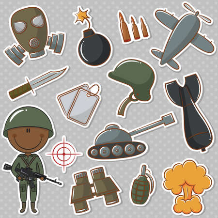 African-American soldier with military things Stock Vector - 27142777