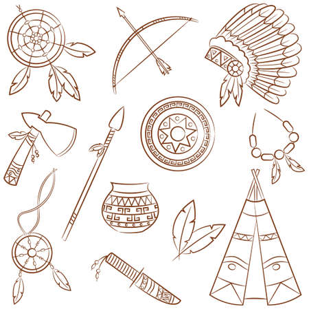 chieftain: Doodle insieme con elementi nativi americani Vettoriali