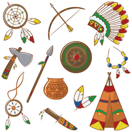 Doodle set with native american elements