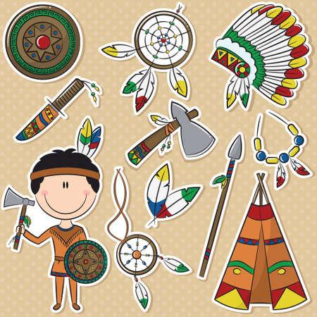 chieftain: Native American con diversi oggetti