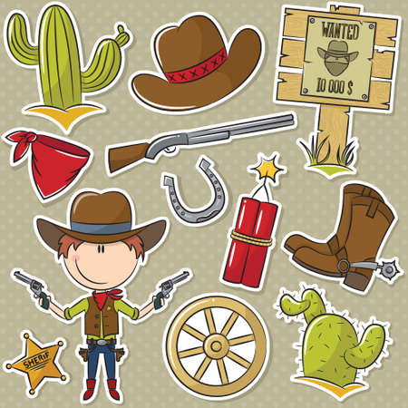 Cute cowboy with Wild West elements Vector