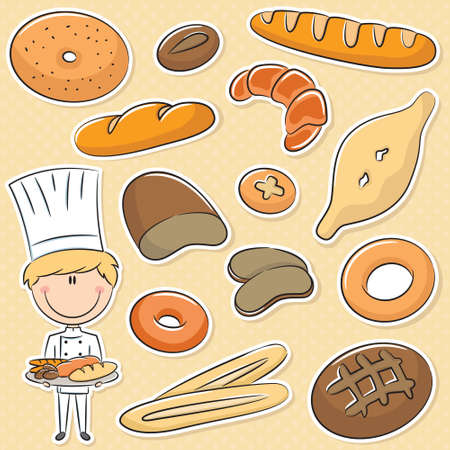 baker cartoon: Cute baker with different types of bread products Illustration
