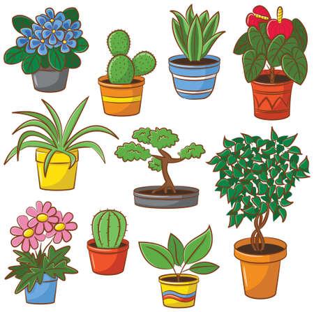 ポットの植物や花の落書きセット  イラスト・ベクター素材