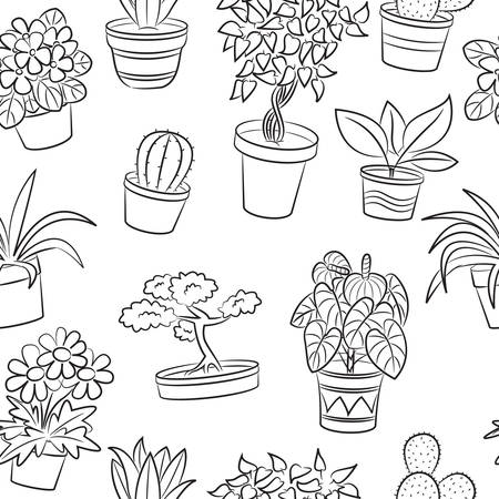 Doodle seamless pattern with plants and flowers  Vector