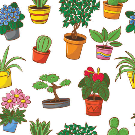 bonsai tree: Doodle seamless pattern with plants and flowers