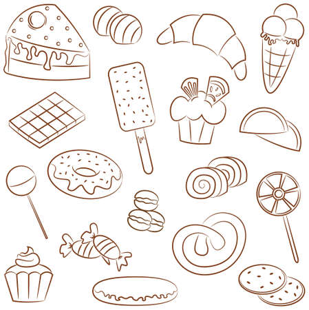 Doodle set with different pastry products Vector