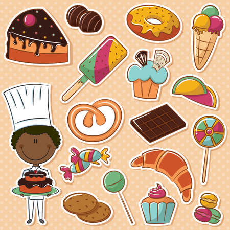 confectioner: Cute African-American confectioner with different sweets Illustration