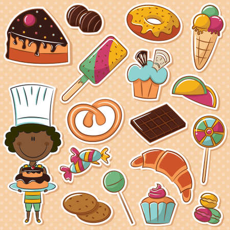 Cute African-American confectioner with different sweets Vector