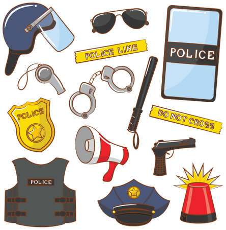 Cute collection of color police icons Vector