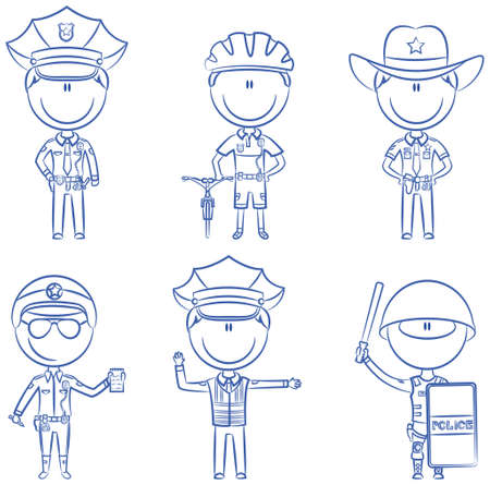 nightstick: Collection of police department employees Illustration