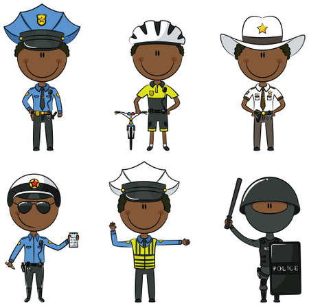 african cartoon: Collection of African-American police department employees Illustration