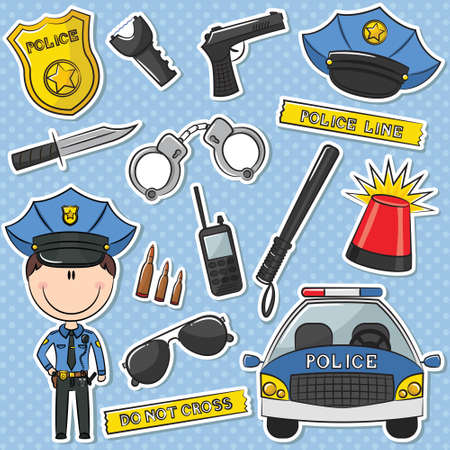 Police Officer With Tools Sticker Set Vector