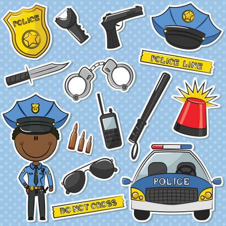 African-American Police Officer With Tools Sticker Set Vector