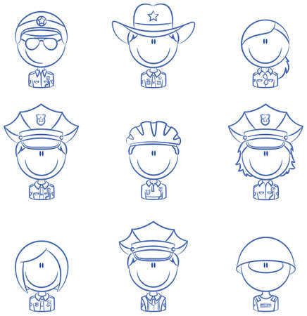 Collection of police department employees avatars Vector