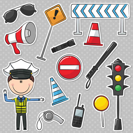 cop: Traffic Policeman With Different Useful Tools Illustration