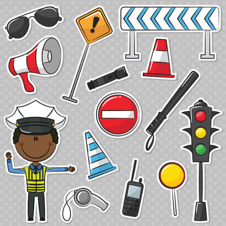 African-American Traffic Policeman With Tools Vector