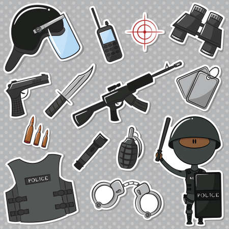 African-American Special Police Officer With Tools And Weapons Vector