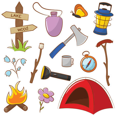 camp fire: Doodle Camping Icon Set Isolated On White