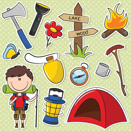 Hiker Boy With Travel Gear Vector