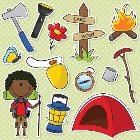 African-American Hiker Boy With Travel Gear Vector